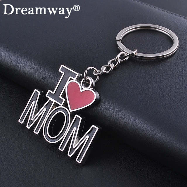 Online Shop Letter I LOVE MOM keychains fashion metal key rings lovely  mother s day gift souvenir key chain personlized heart key holder  edeb53f8a