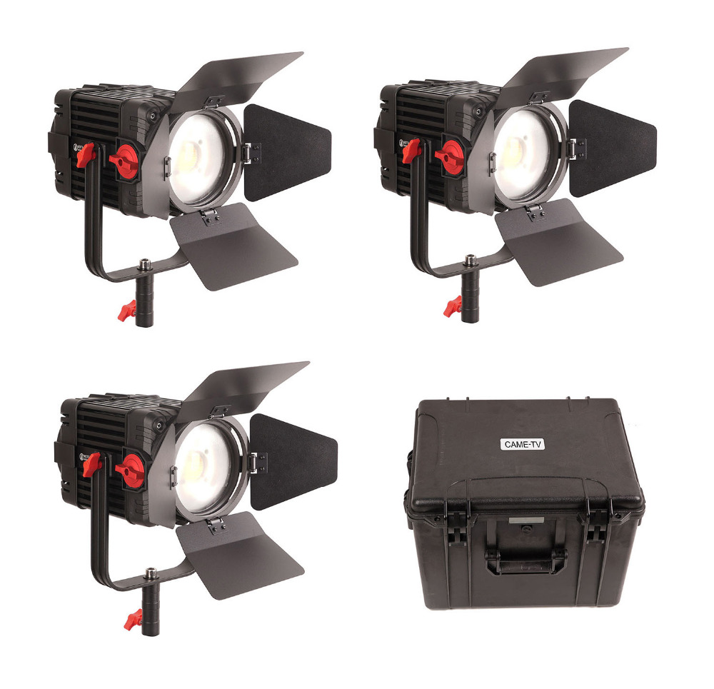3 Pcs CAME TV Boltzen 150w Fresnel Focusable LED Daylight Kit-in Photo Studio Accessories from Consumer Electronics