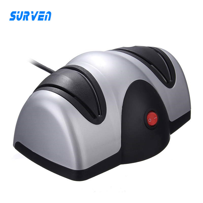 SURVEN Official Store 220V Multifunction Electric Automatic Knife For Sharpener 2 Stage Kitchen Fruit Knife Scissors Sharpen Knives Grinding Tool