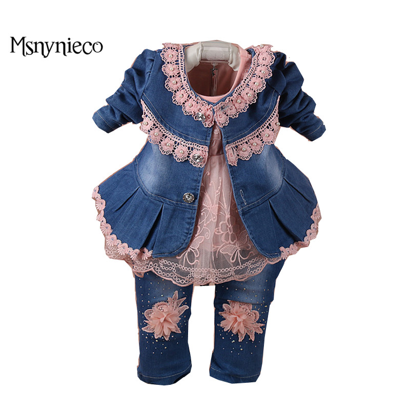 Baby Girls Lace Suit Denim Jacket+T-shirt+Jeans Kids 3pcs Suit Baby Girls Clothes Sets 2017 Brand Infant Baby Clothing Christmas baby girls clothes suit denim jacket t shirt jeans kids 3pcs suits baby girls clothes 2017 toddler baby outfits clothing sets