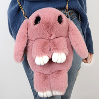 Cute Real Life Rabbit Animal Fur Doll Plush Toy Kids Birthday Gift Doll backpack Decorations Stuffed Toys Bag