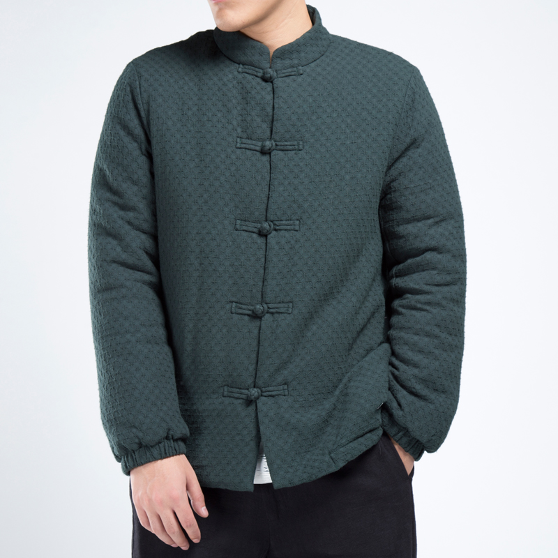 Chinese Style 3 Colors Size M-5XL Men Winter Casual Warm Jacket Male Loose Thick Linen Cotton Padded Coat Mens Overcoat