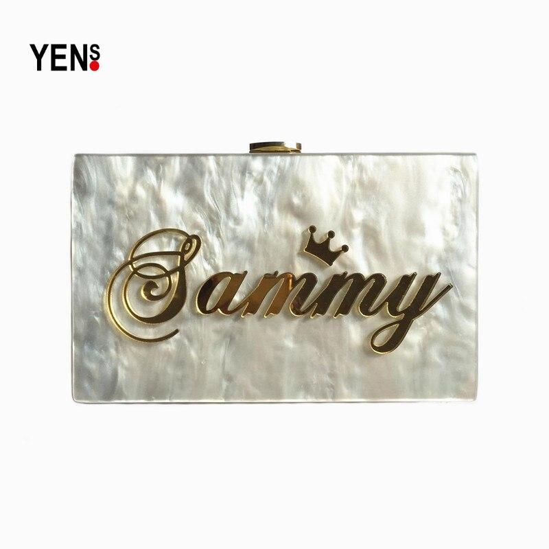 YENS Handmade Acrylic Clutch Customized Name Bag Unique Letter Handbag  Evening Bag Wedding Bridesmaid Bag Mini aa785be1dc74