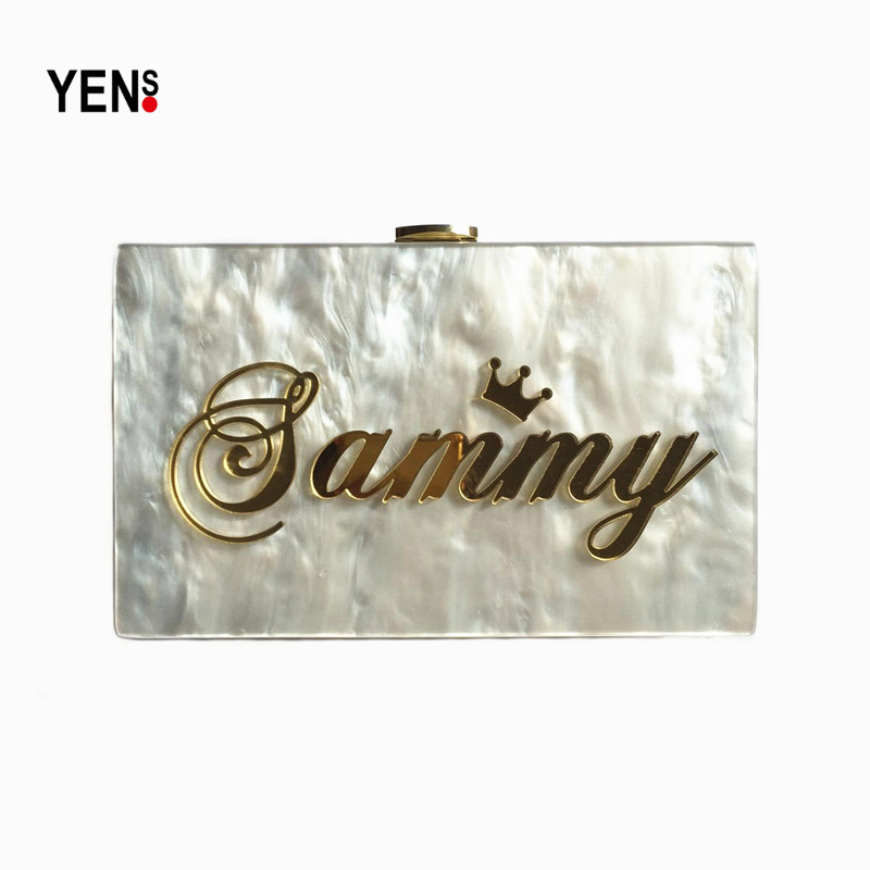Online Shop YENS Handmade Acrylic Clutch Customized Name Bag Unique Letter Handbag  Evening Bag Wedding Bridesmaid Bag Mini Box Wallet Purse  b1455772882f
