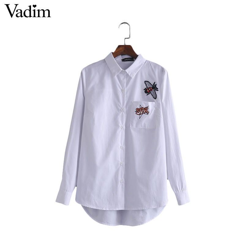 Women cute bee letters patch white shirt loose blouse long ...