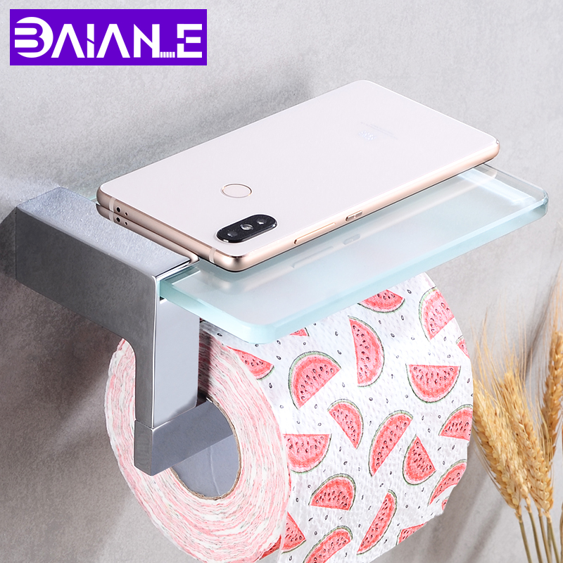 Toilet Paper Holder with Shelf Glass Brass WC Tissue Roll Paper Holder Bathroom Decorative Paper Towel