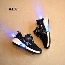 AAdct 2017 Новая Мода USB led shoes дети светящиеся кроссовки сетка вязание кроссовки детей shoes для девочек мальчиков свет светящийся