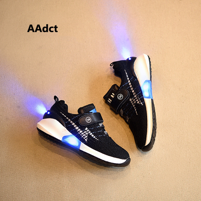 AAdct 2017 New Fashion USB led shoes kids luminous sneakers mesh knitting running children shoes for girls boys light glowing luminous glowing sneakers children kids led shoes breathable zapatos shining children usb charging kids led shoes 50z0005