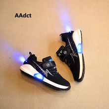 AAdct 2017 New Fashion USB led shoes kids luminous sneakers mesh knitting running children shoes for