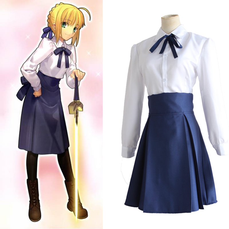 Fate/Stay Night Saber Arturia Pendragon Cosplay Costume Sailor Suit Casual Daily Clothing