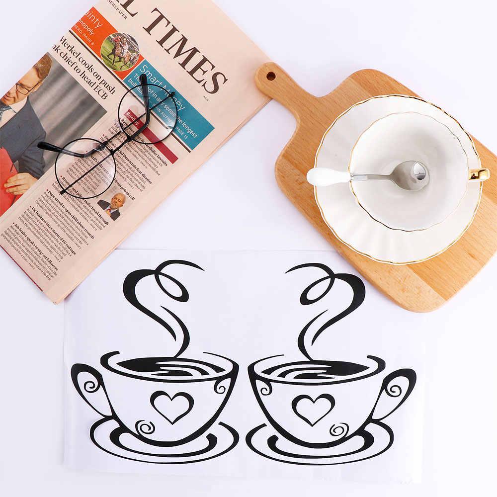 Double Cangkir Kopi Stiker Dinding Desain Yang Indah Cangkir Teh Dekorasi Kamar Vinyl Seni Stiker Dinding Perekat Stiker Dekorasi Dapur