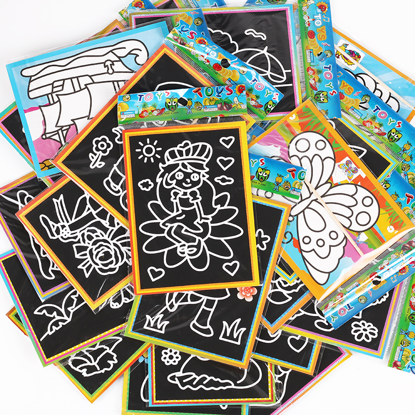 6 PCS 13x9.5cm Color Scratch Art Coloring Card Paper Scraping Graffiti Painting Drawing Book For Children Office Stationery Gift