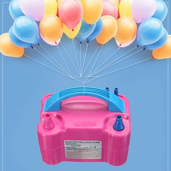 цена на 220V Electric Balloon Inflator Pump AC Plug Double Hole Nozzle Air Compressor Inflatable Electric Balloon Pump Air Blower