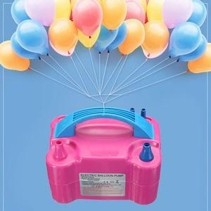 Image 1 - 220V électrique ballon gonfleur pompe AC Plug Double trou buse compresseur dair gonflable électrique ballon pompe Air souffleur