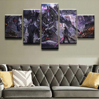 Anime Original Poster 5 Pieces Blade City Girl and Robot In Ruin Painting Home Decor Living Room Canvas Print Wall Art Picture