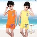 2016 verano nueva ropa de los niños del juego del verano del bebé pantalones cortos chaleco de los niños ropa deportiva
