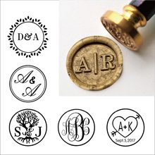 Custom Two initials Wax Seal Stamp,Custom Wax Seal Stamp Kit,wedding invitation seals,wedding gift,personalised wood wax stamp(China)