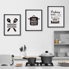 Cooking With Love Kitchen Quote Wall Art Prints And Poster , Baking With Heart Canvas Painting Wall Pictures Home Kitchen Decor(China)