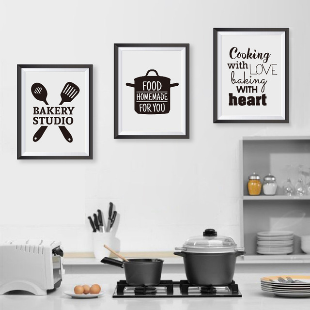 Cooking with love kitchen quote wall art prints and poster baking with heart canvas painting
