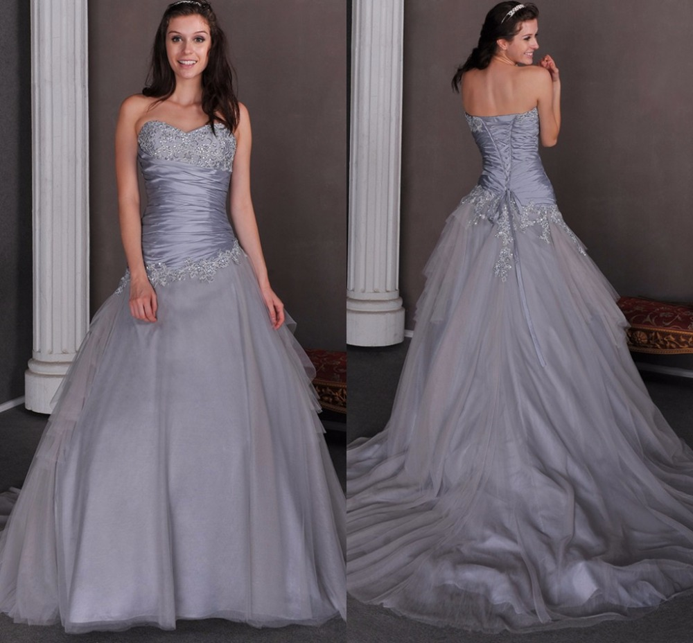Grey Gowns Wedding: Vintage Silver Gray Colorful Wedding Dresses 2017
