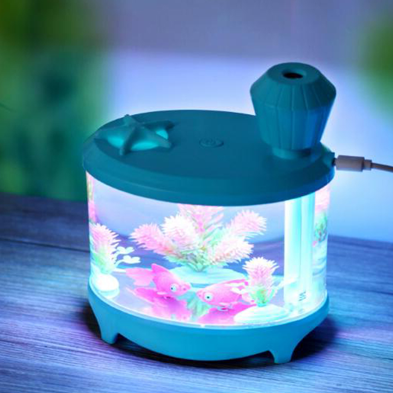 460ml Blue Fish Moisturizer Diffuser Humidifier Home Decoration USB Stray Air Diffuser Humidifier Fish Tank Shape!