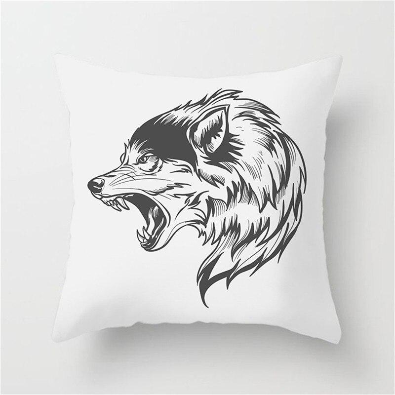 Fuwatacchi Cartoon Animal Cushion Cover Lion Tiger Pillowcase Dragon Black And White Sofa Home Decoration Pillow Cover 45cm 45cm in Cushion Cover from Home Garden