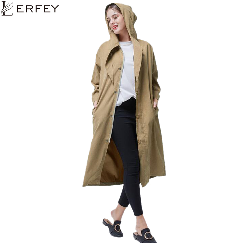 LERFEY Women Autumn New Woman Classic Covered Button   Trench   Coat Waterproof Business Outerwear Casual Hoodies Windbreaker