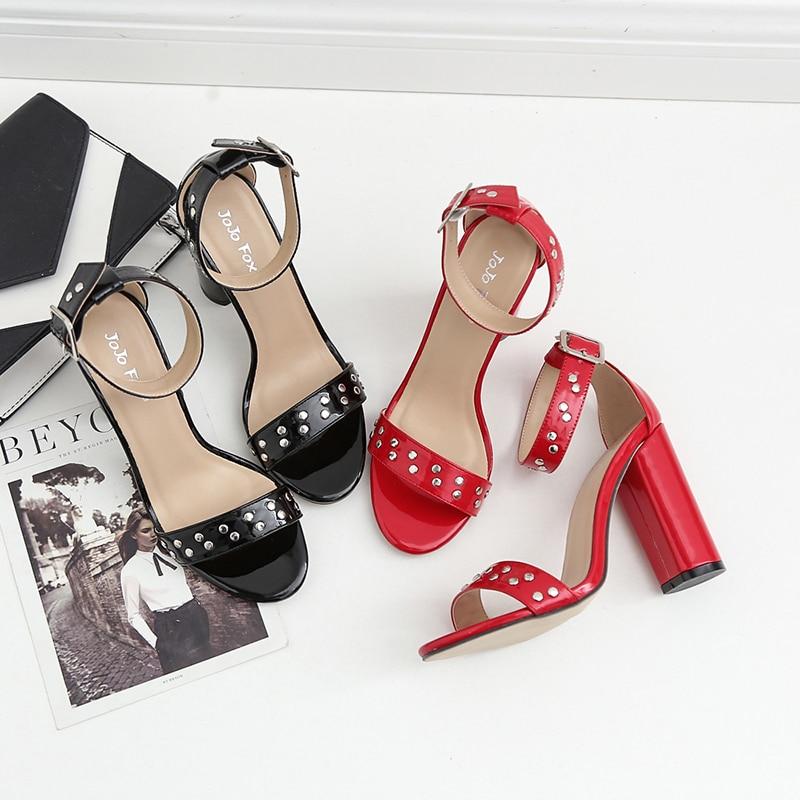 Rouge rouge Sexy Talons New Hauts Bride À 2018 Sandales Summer Noir Rivets La Femmes Femme Cheville Chaussures qd4Baq