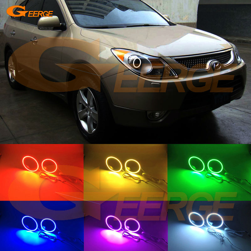For Hyundai veracruz ix55 2007 2008 2009 2010 2011 2012 Excellent Multi-Color Ultra bright RGB LED Angel Eyes kit Halo Ring america veracruz