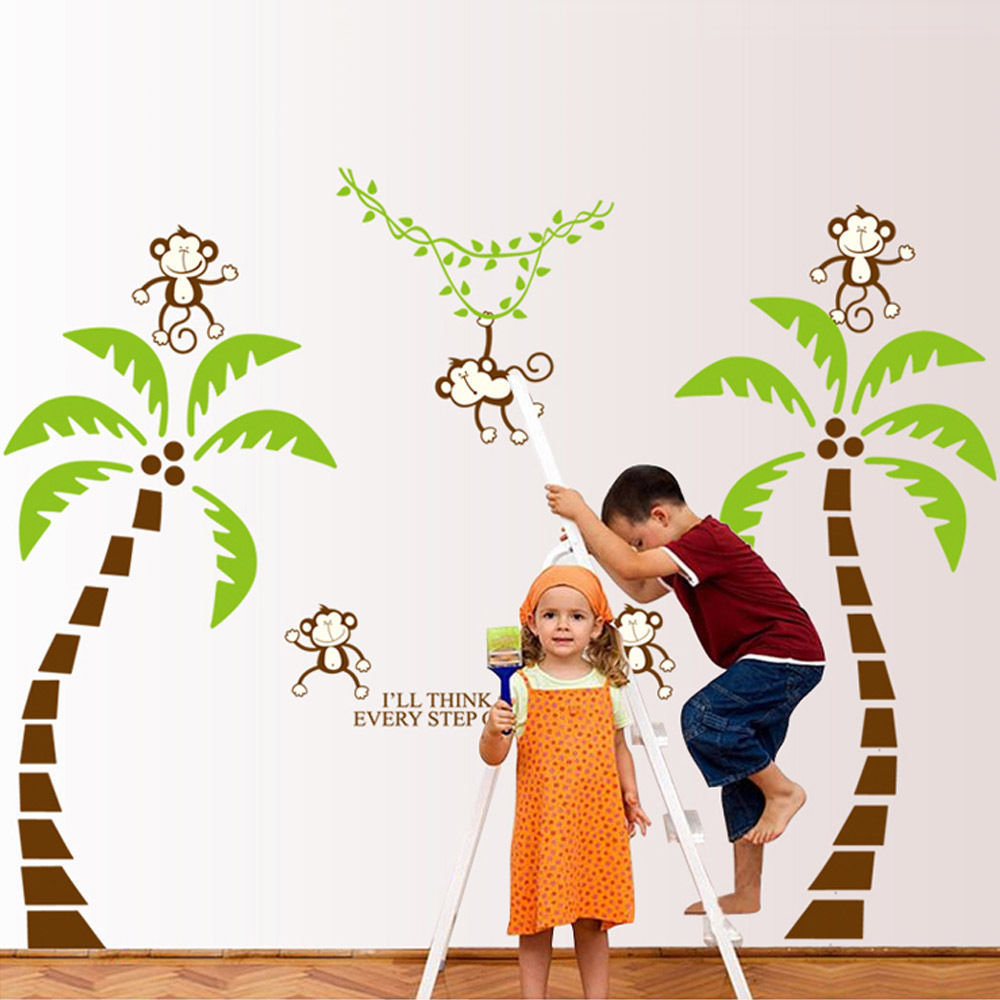 compare prices on trees jungle online shopping buy low price removable jungle monkey tree wall art stickers kids nursery decor decal mural china mainland