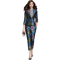 Elegant African print women blazers with trousers Ankara fashion dashiki pant suits for ladies Africa clothing customized