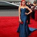 Robe de soirée sereia cetim vestidos de celebridades tapete vermelho vestido vestido de festa Custom Made