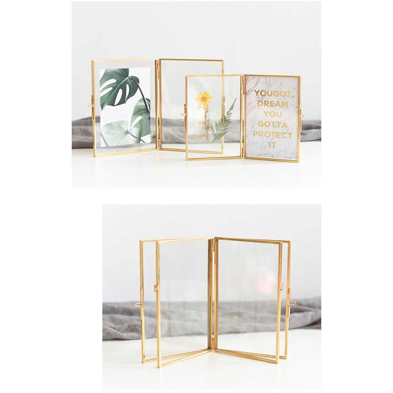 Nordic Light Luxury Brass Photo Frame Ornaments Creative 2 Boxes Floding DIY Photo Frames Living Room Desktop Decoration Gifts