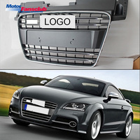 1Pc Car Racing Grille For Audi TT Grill Quattro 8J SFG MK2 2007 2014 With Sliver Emblem ABS Radiator Front Modify Part Honeycomb