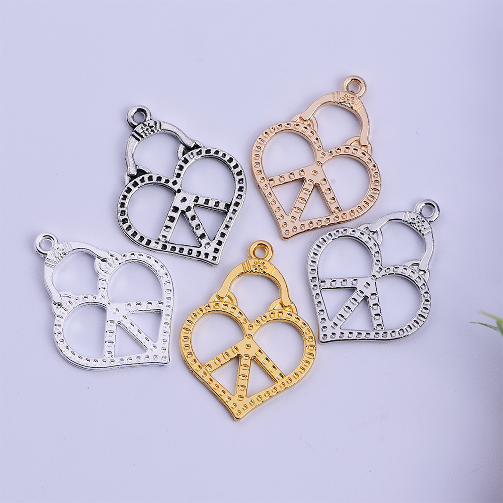Hot Selling 50pcs/lot Zinc Alloy Gold/Silver Plated Peace Sign Charms Pendants DIY Jewelry Making 22*29mm