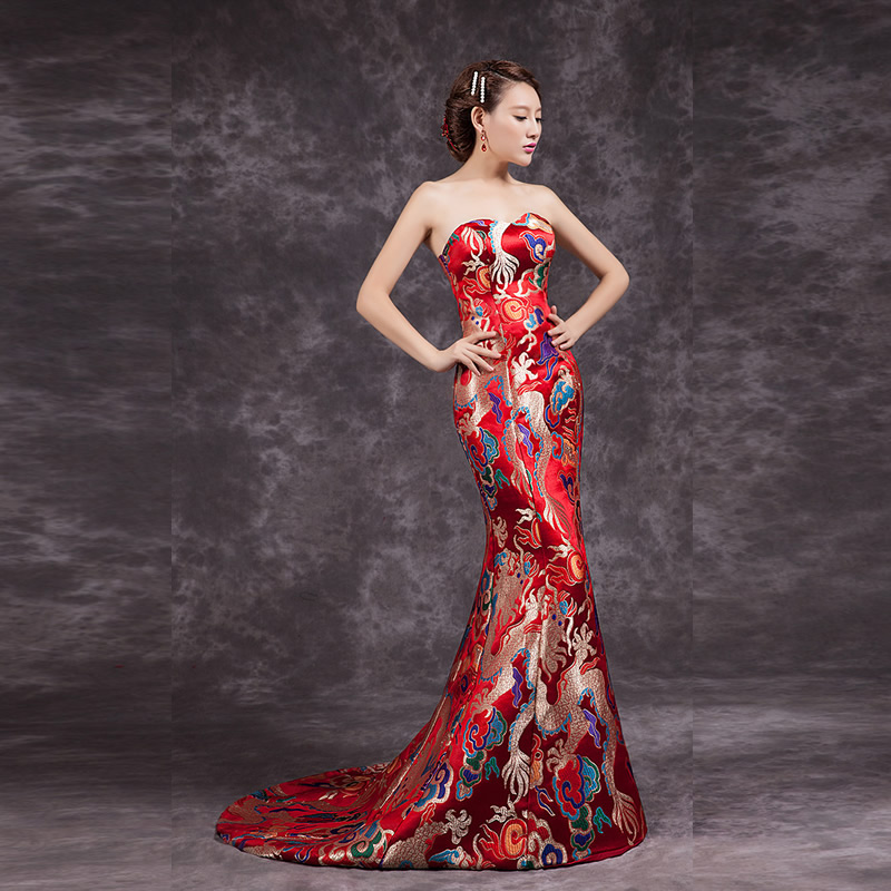 2016 Fashion Red Cheongsam Chinese Traditional Dress Long Qipao Evening Gowns China  Slim Retro Qi Pao Women Antique Dresses number