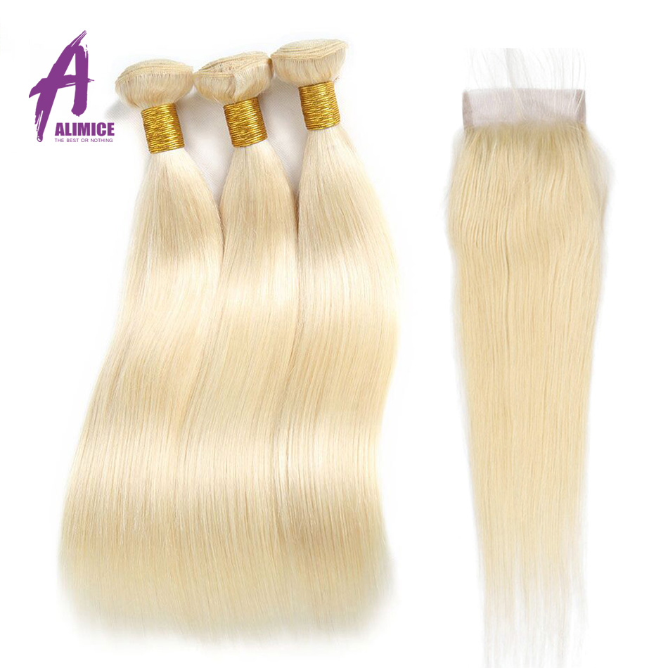613 Blonde Bundles With Closure Brazilian Straight Hair Bundles With Closure Remy Human Hair Weave Extenstions