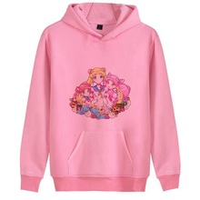 Sailor Moon Pink Cute Cartoon Printed Fashion Casual Harajuku Hoodie Pink/White/Grey Women's Hoodie 193151 стоимость