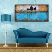 Abstract Trees Blue Water Hand Painted Oil Painting Brown Sky Canvas Art Wall Decorative Pictures Large Acrylic Art