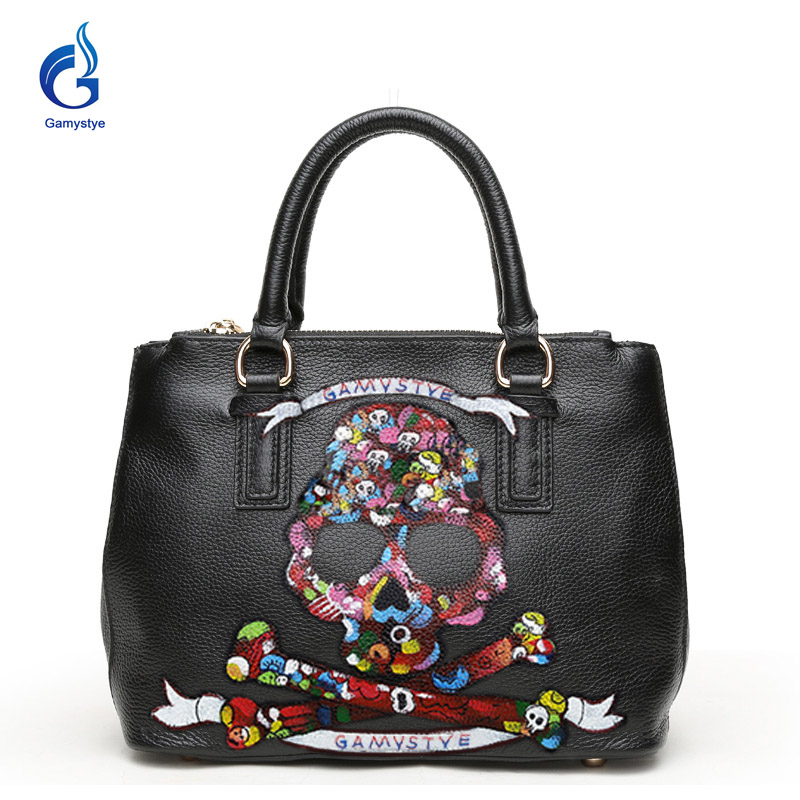 Gamystye New Women bags Graffiti totes design bags hand paint skull handbags Genuine leather shoulder bag colors skull cool punk