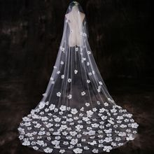 One-Layer Women Tulle Ultra-Long Trailing Wedding Veil Romantic Irregular Five Petals Flowers Appliques Cathedral Bridal Veil