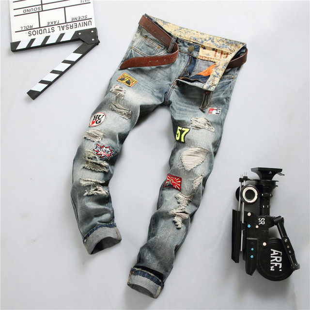 1b9666c8 Personality Badge Patchwork Jeans Men Ripped Jeans Fashion Brand Scratched  Biker Jeans Hole Denim Straight Slim