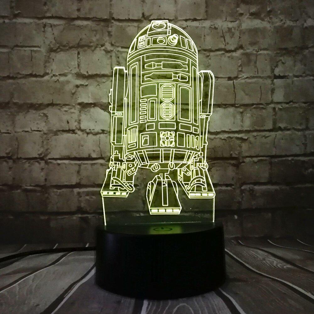 Yeni 3D Star Wars Savaş Gemisi R2D2 7 Renkler LED USB Değişim Masa - Gece Lambası - Fotoğraf 2