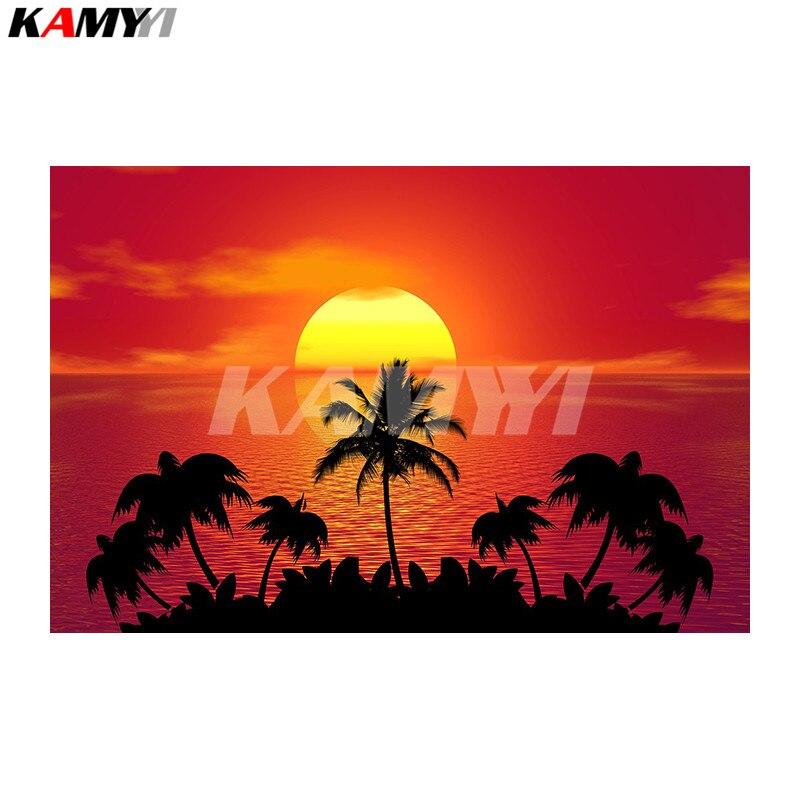 NEW Diamond DIY Pittura Tropical Beach Sunset Ricamo della decorazione della Casa Decorativo Piazza Piena di Diamante Del Ricamo NMX