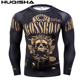 Mens MMA Fitness Rashguard T Shirts Fashion 3D Teen Wolf Long Sleeve Palace Compression Shirt Man Bodybuilding Clothing 3