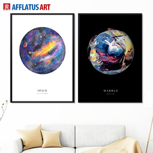 AFFLATUS Space Marble Landscape Painting Nordic Posters And Prints Wall Art Canvas Pictures For Living Room Decor