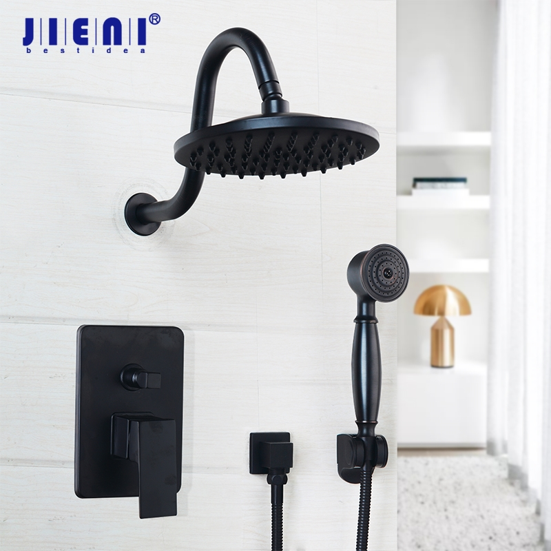 все цены на 8 inch Black Round Wall Mounted Bathroom Rainfall shower faucet Sets Oil Rubbed Bronze head & hand shower Shower Sets онлайн