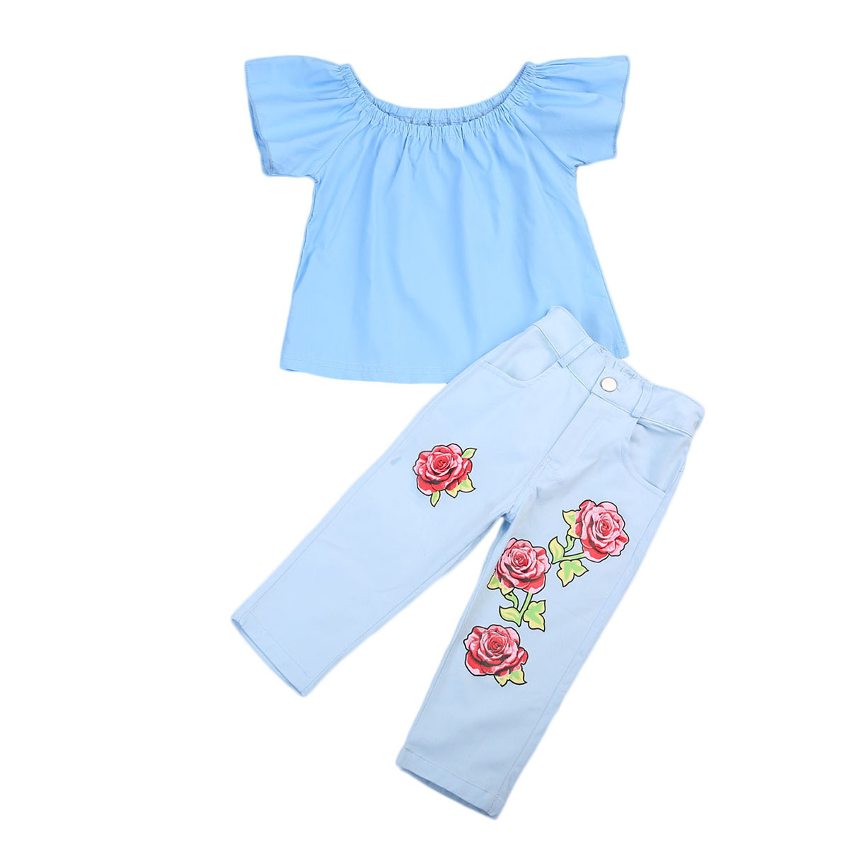 2017 New summer 2Pcs Kids Baby Girl Outfits Off Shoulder T-shirt Tops+Long Pants Jeans Clothing Set