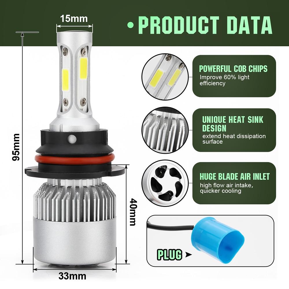 מנורות לרכב 2pcs S2 H7 LED 8000LM רכב פנס נורות H1 LED H4 H8 H9 H11 ערכת אורות 9005 HB3 9006 HB4 לרכב LED מנורות DC9-32V אורות ערפל (4)