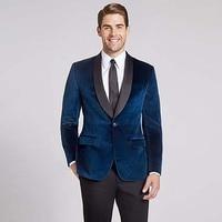 smoking suit navy blue shawl lapel velvet tuxedos vintage worm men suit for wedding 2018 evening party prom blazer jacket+pants